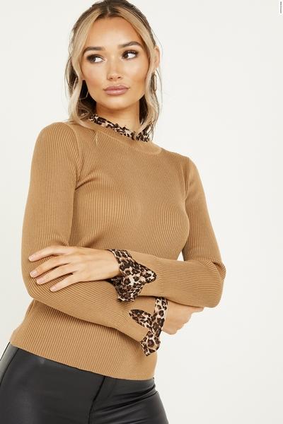 Tan Leopard Print Knit Frill Jumper